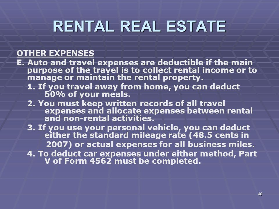 RENTAL REAL ESTATE OTHER EXPENSES