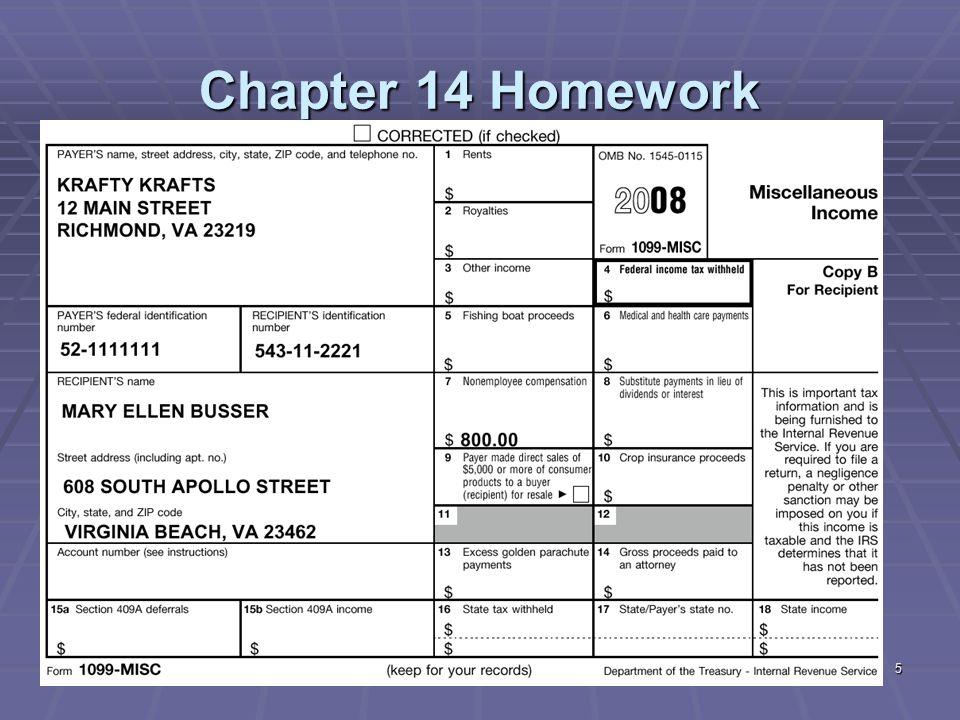Chapter 14 Homework