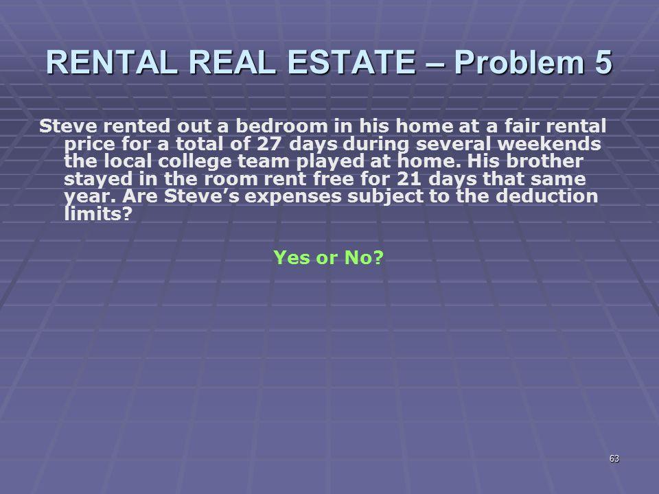 RENTAL REAL ESTATE – Problem 5