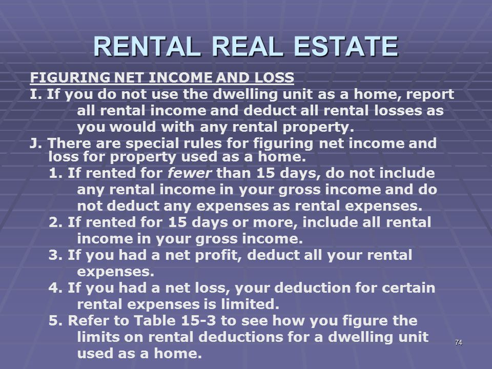 RENTAL REAL ESTATE FIGURING NET INCOME AND LOSS