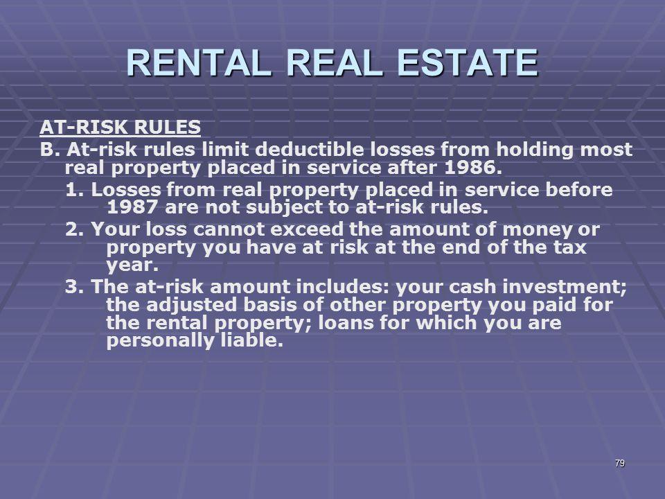 RENTAL REAL ESTATE AT-RISK RULES