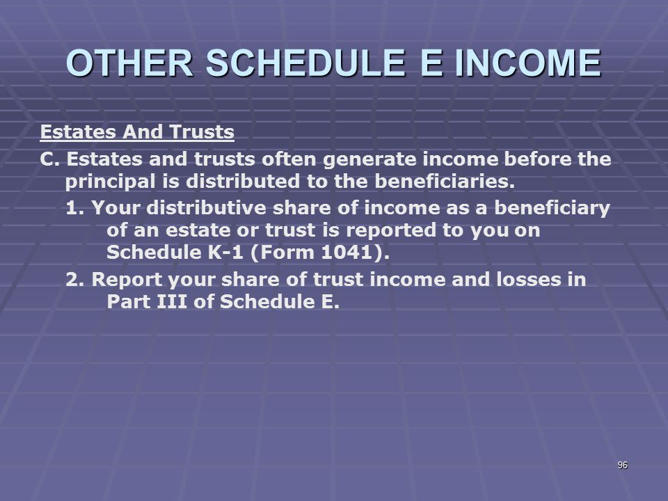 OTHER SCHEDULE E INCOME