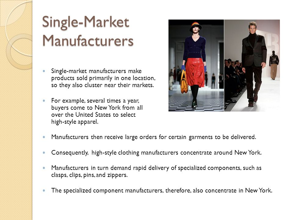 Single-Market Manufacturers