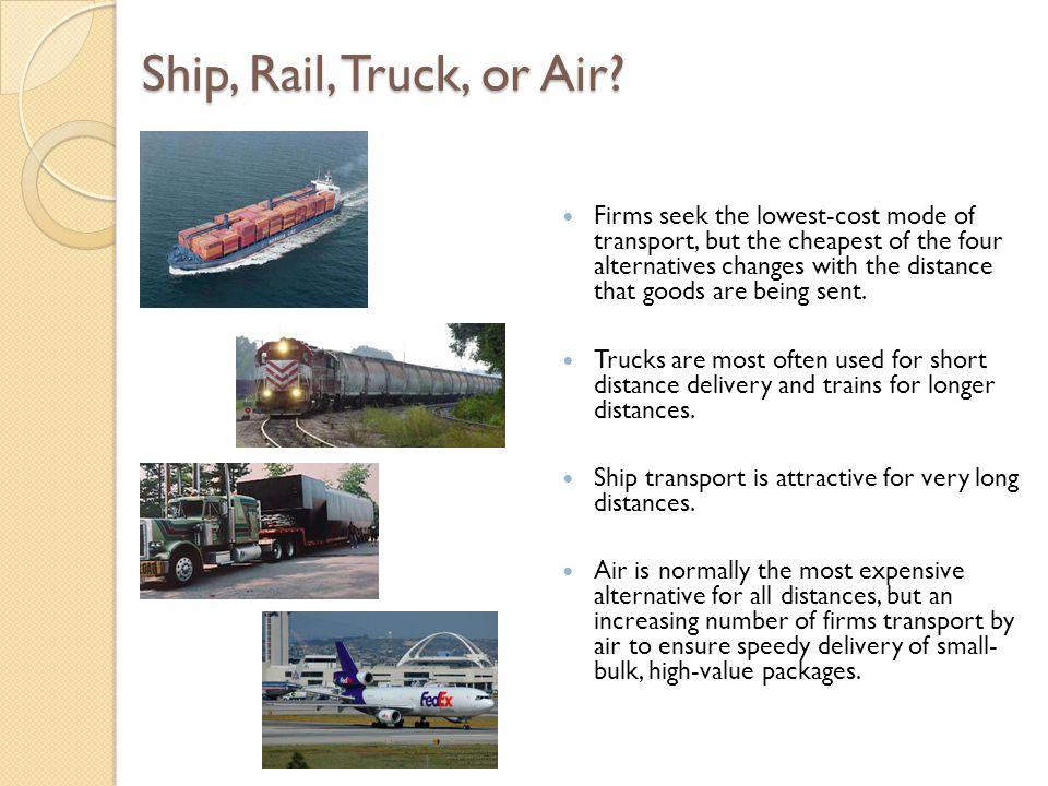 Ship, Rail, Truck, or Air