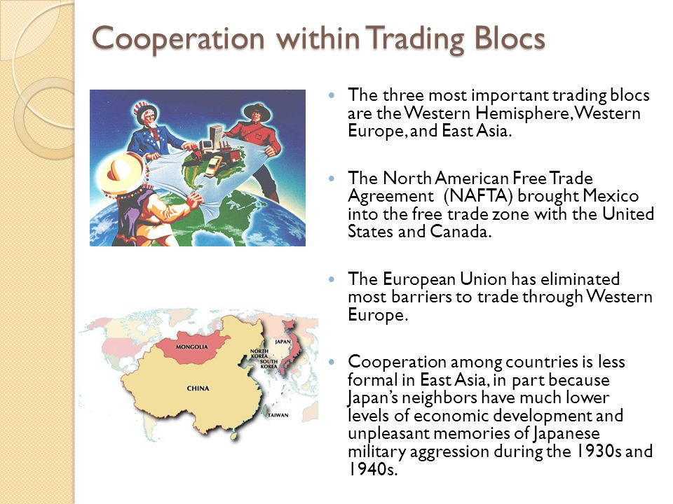 Cooperation within Trading Blocs
