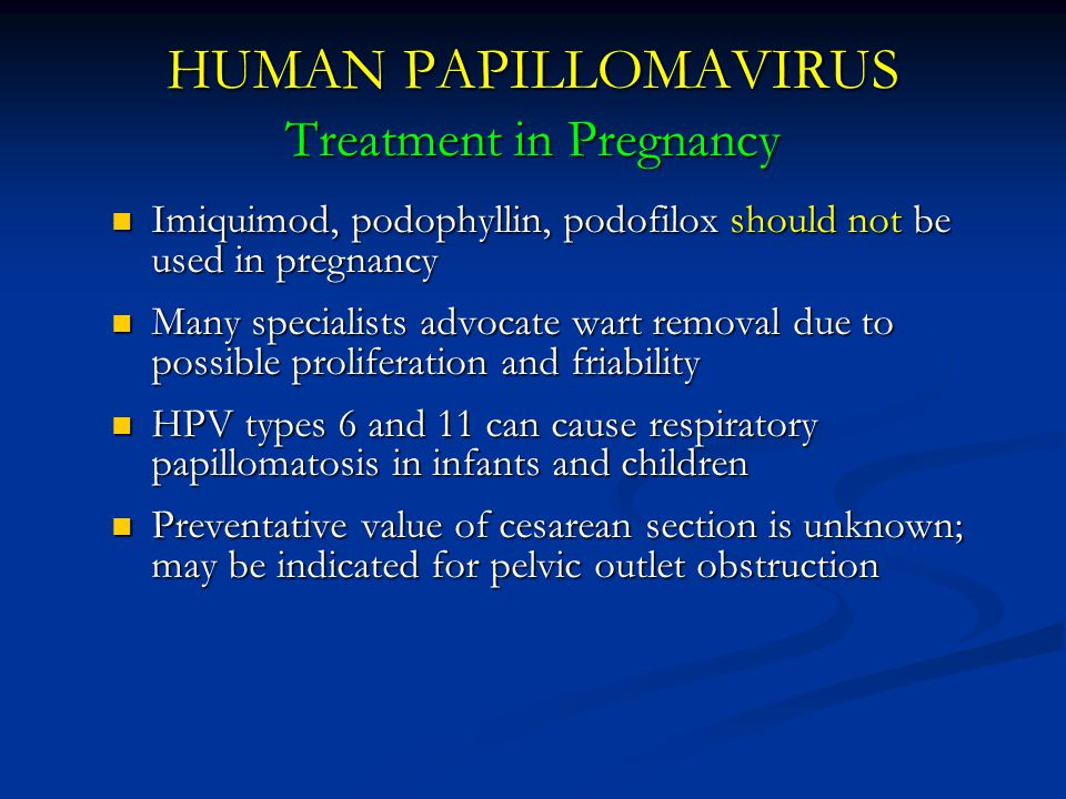 HUMAN PAPILLOMAVIRUS Treatment in Pregnancy