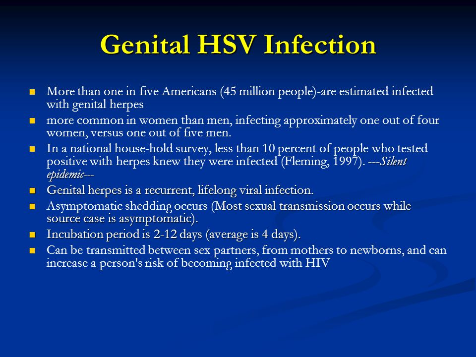 Genital HSV Infection More than one in five Americans (45 million people)-are estimated infected with genital herpes.