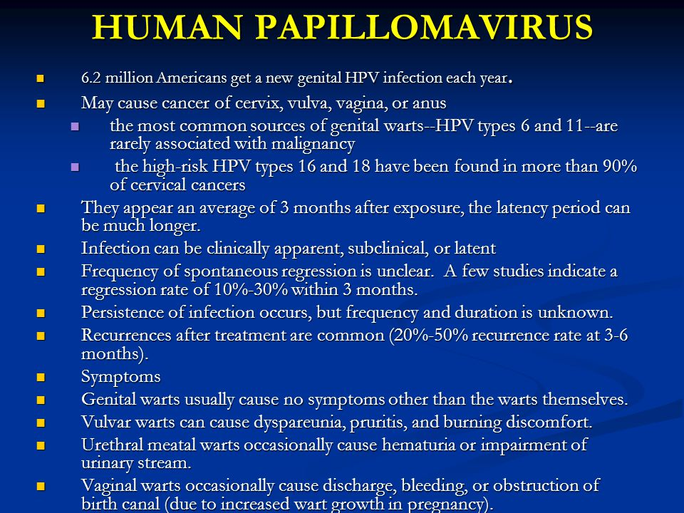 HUMAN PAPILLOMAVIRUS 6.2 million Americans get a new genital HPV infection each year. May cause cancer of cervix, vulva, vagina, or anus.