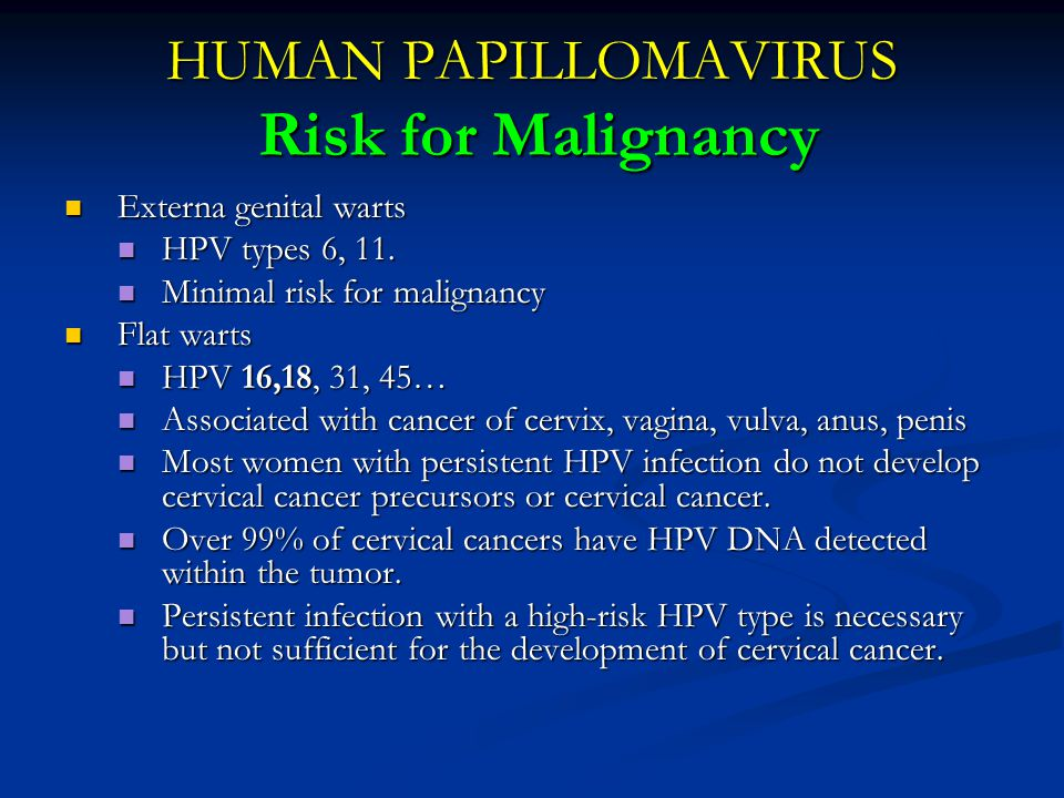 HUMAN PAPILLOMAVIRUS Risk for Malignancy