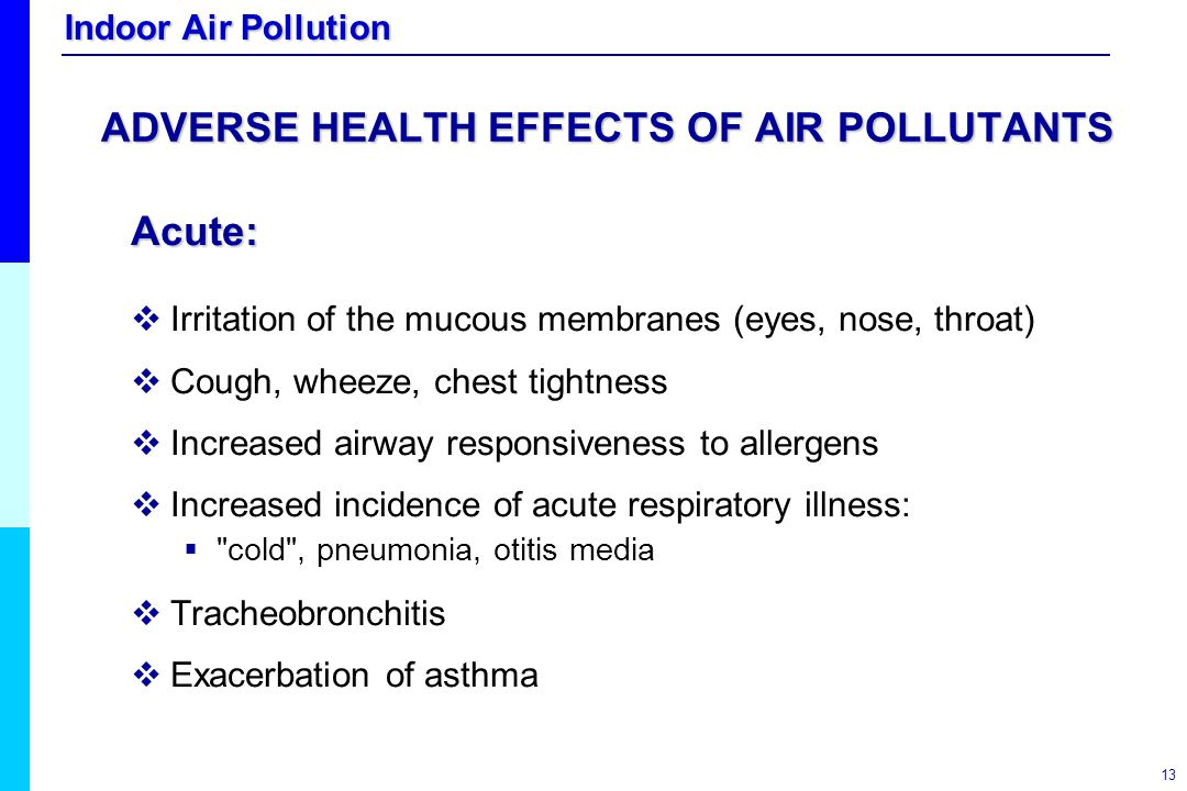 ADVERSE HEALTH EFFECTS OF AIR POLLUTANTS