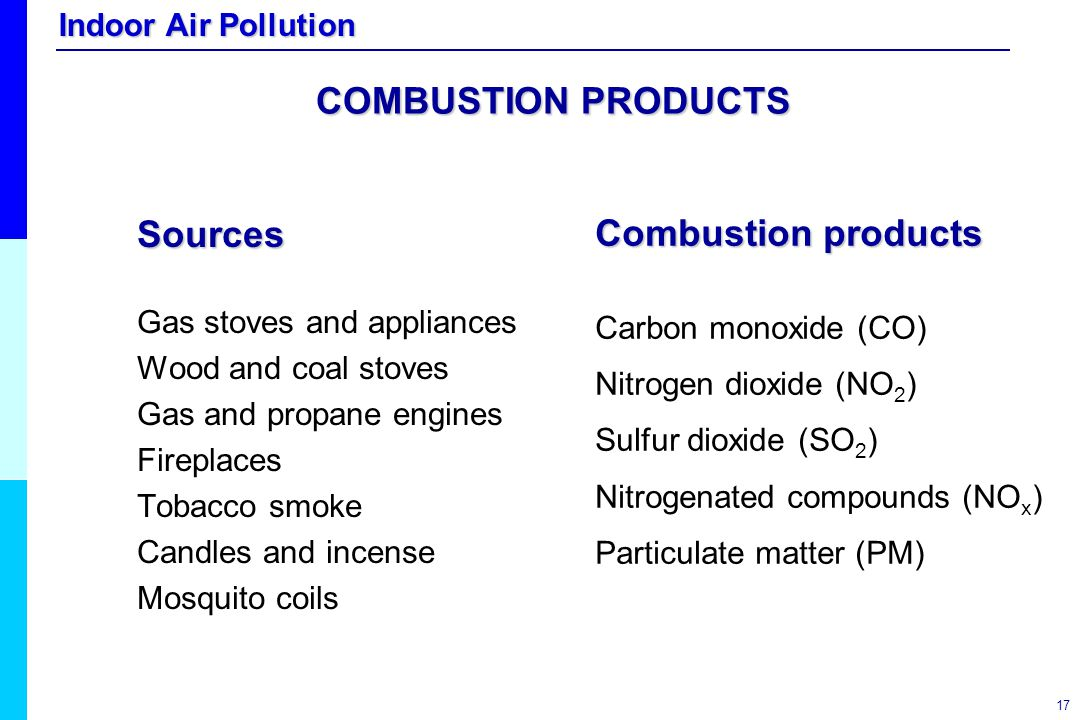COMBUSTION PRODUCTS Sources Combustion products