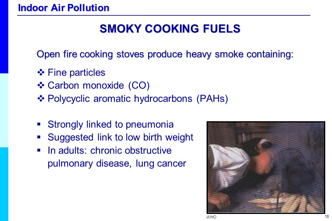 SMOKY COOKING FUELS Open fire cooking stoves produce heavy smoke containing: Fine particles. Carbon monoxide (CO)