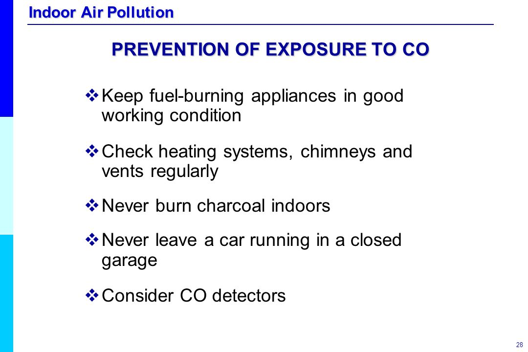 PREVENTION OF EXPOSURE TO CO