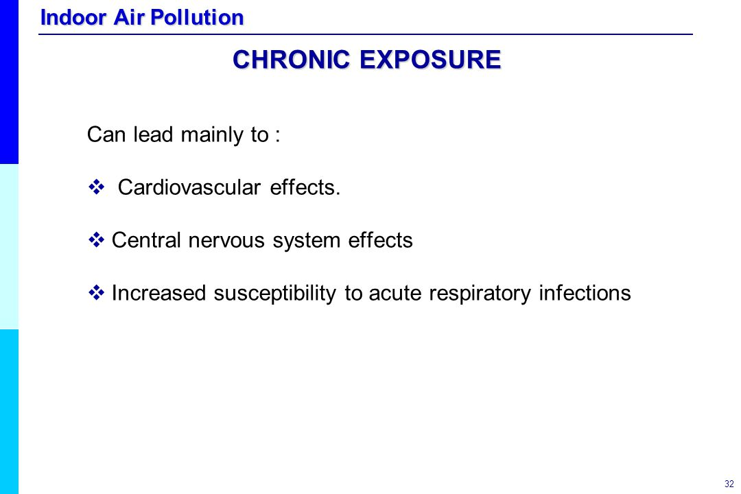 CHRONIC EXPOSURE Can lead mainly to : Cardiovascular effects.