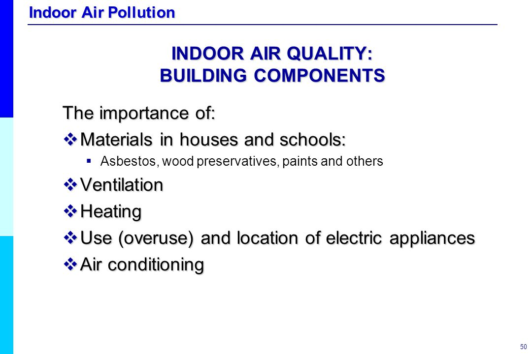 INDOOR AIR QUALITY: BUILDING COMPONENTS