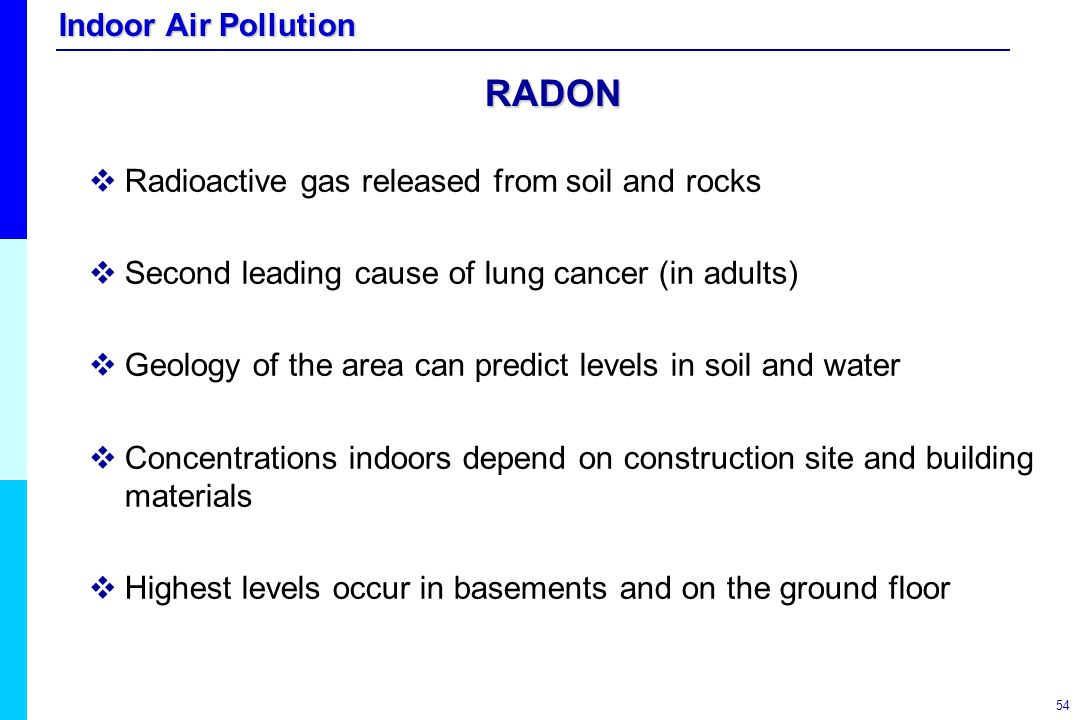 RADON Radioactive gas released from soil and rocks