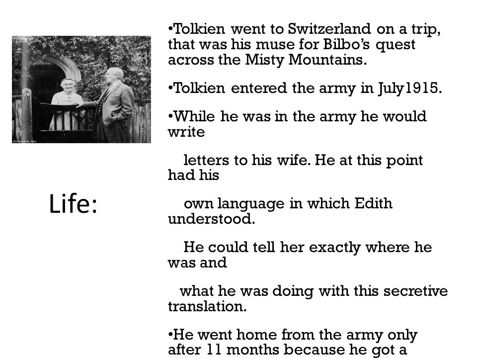 6 Tolkien went to Switzerland on a trip, that was his muse for Bilbo's quest across the Misty Mountains.