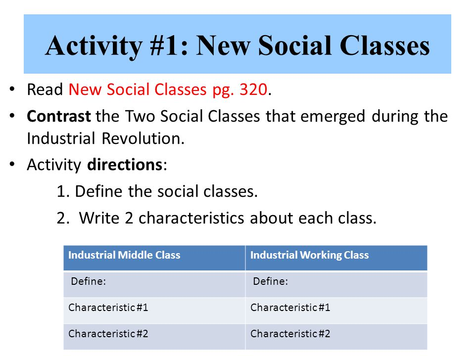 Activity #1: New Social Classes