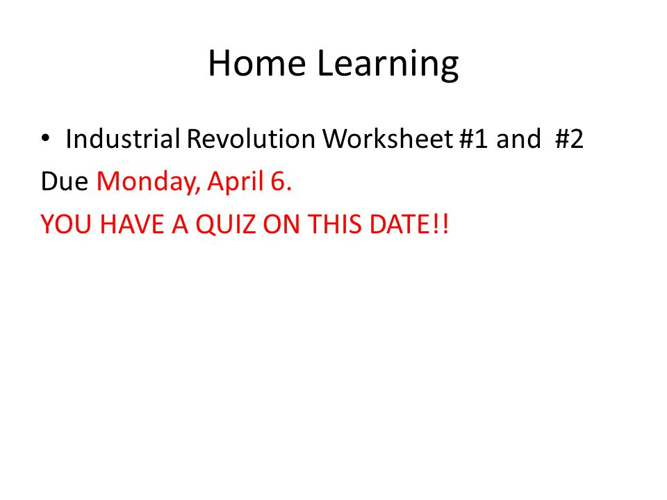 Home Learning Industrial Revolution Worksheet #1 and #2