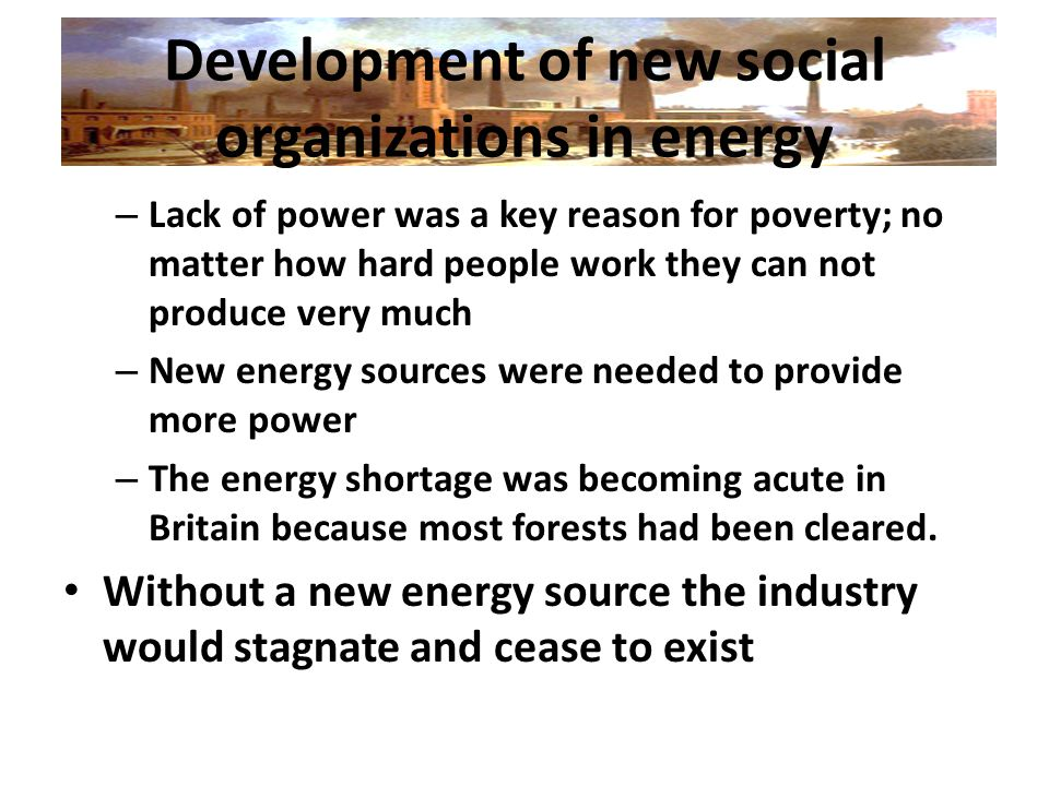 Development of new social organizations in energy