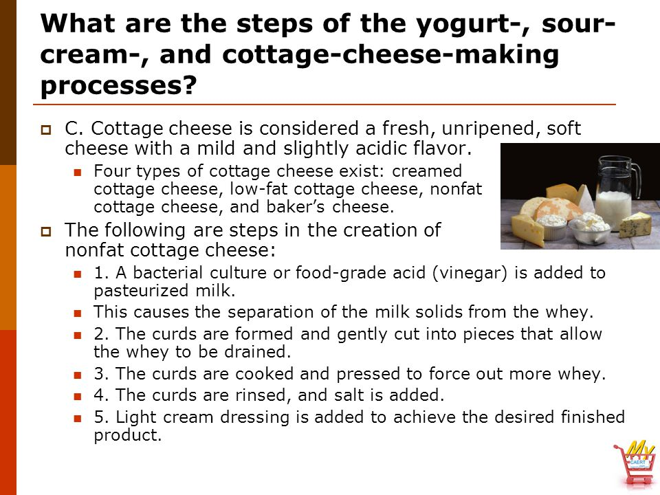 What are the steps of the yogurt-, sour-cream-, and cottage-cheese-making processes