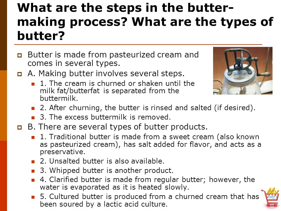 What are the steps in the butter-making process