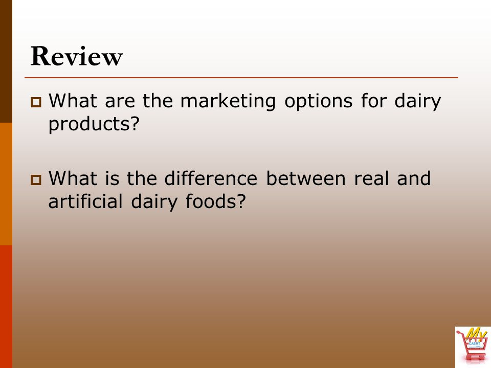 Review What are the marketing options for dairy products