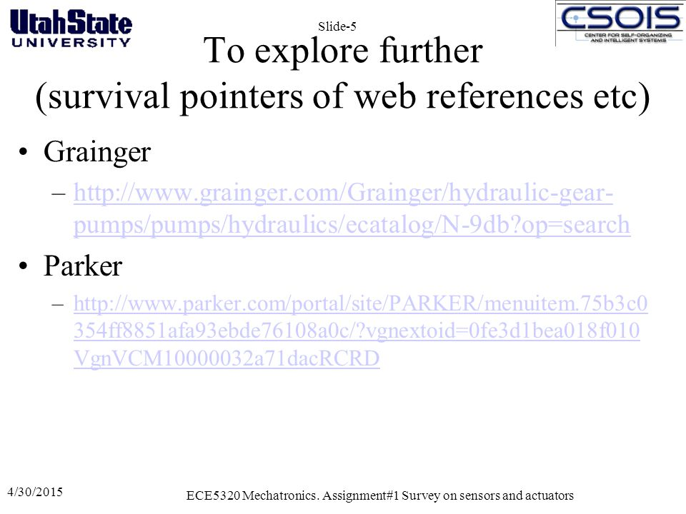 To explore further (survival pointers of web references etc)