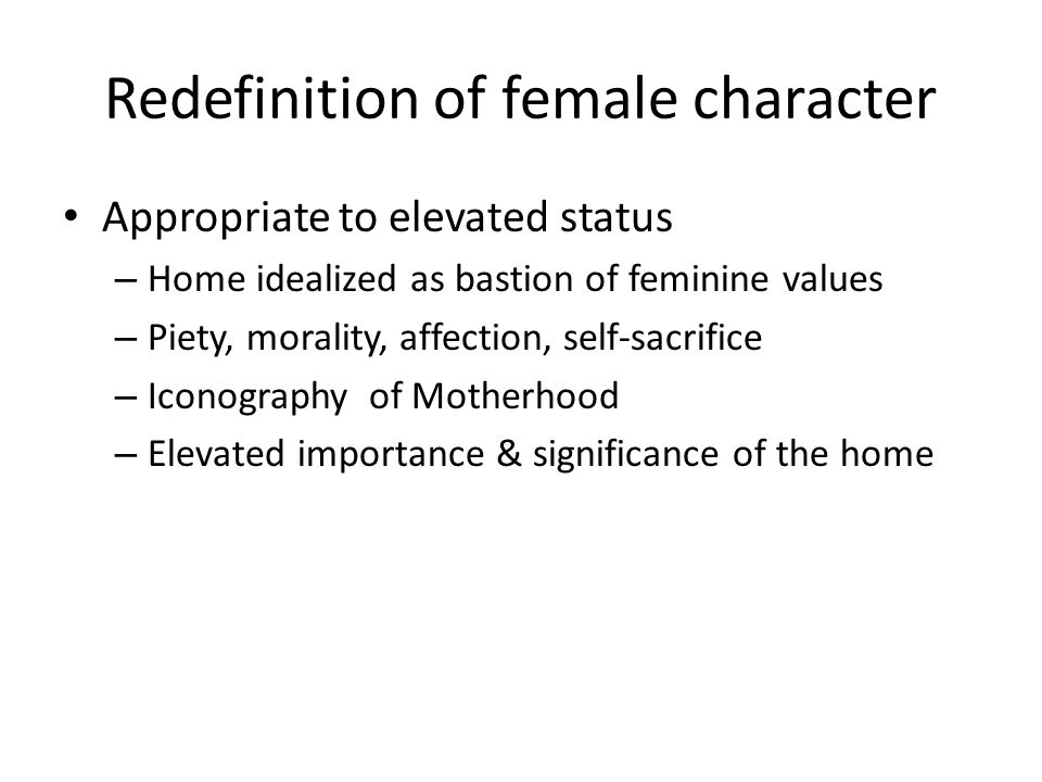 Redefinition of female character
