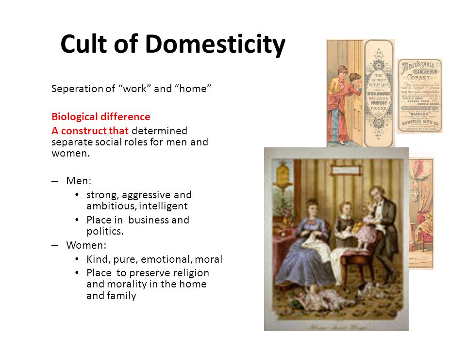 Cult of Domesticity Seperation of work and home