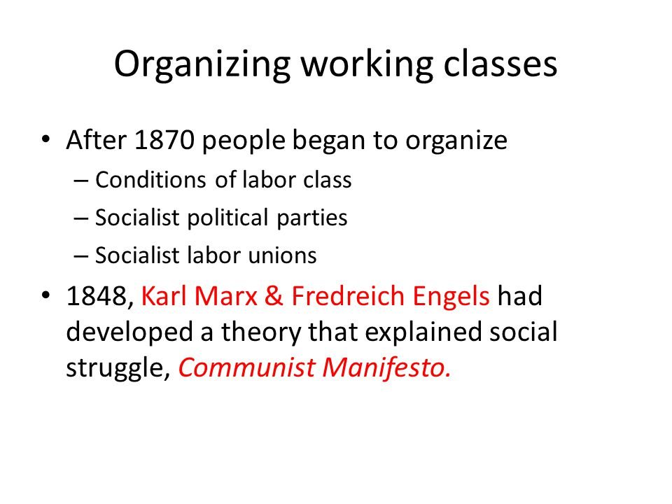 Organizing working classes