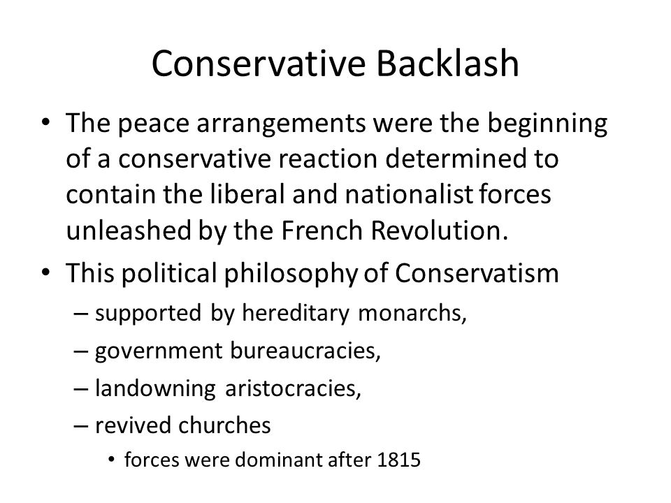 Conservative Backlash