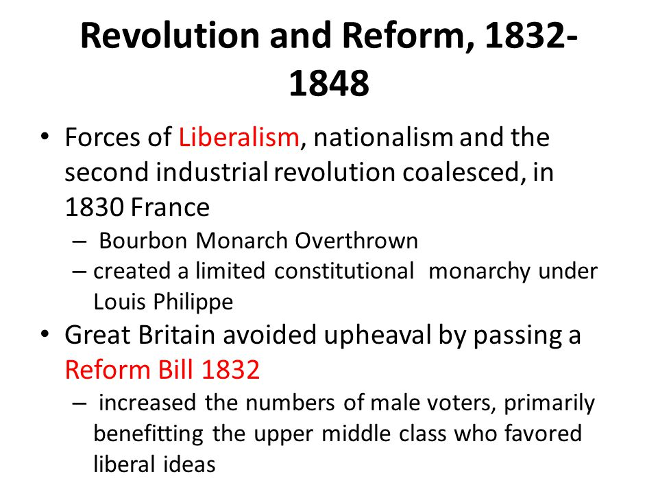 Revolution and Reform, 1832-1848
