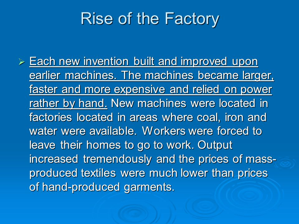 Rise of the Factory