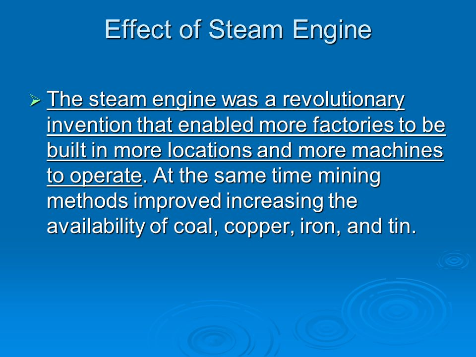 Effect of Steam Engine