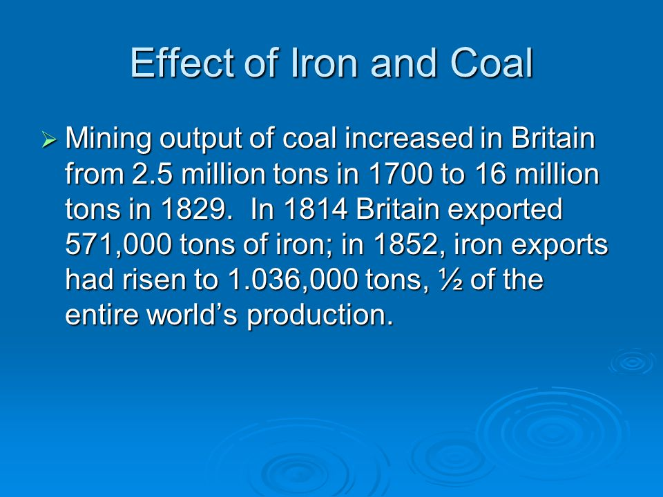 Effect of Iron and Coal