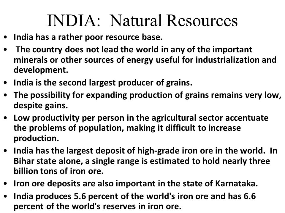 INDIA: Natural Resources