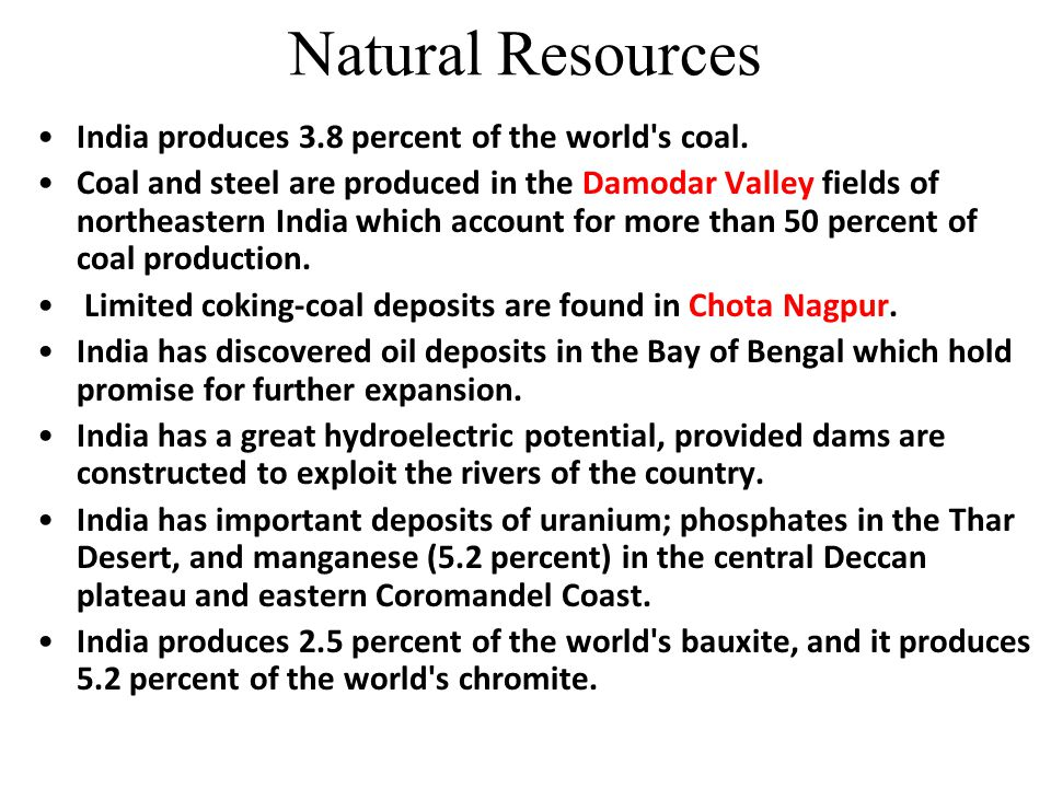 Natural Resources India produces 3.8 percent of the world s coal.
