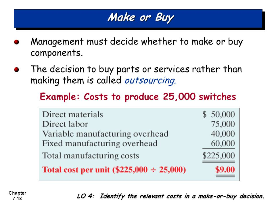 Example: Costs to produce 25,000 switches