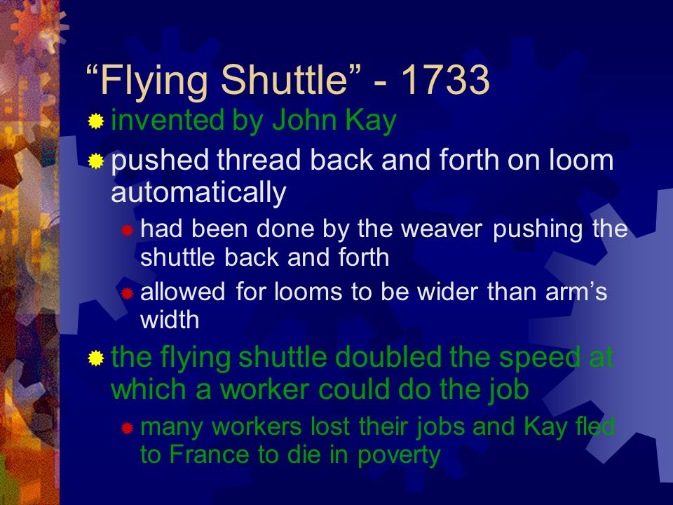Flying Shuttle - 1733 invented by John Kay