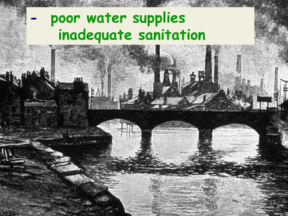 - poor water supplies inadequate sanitation