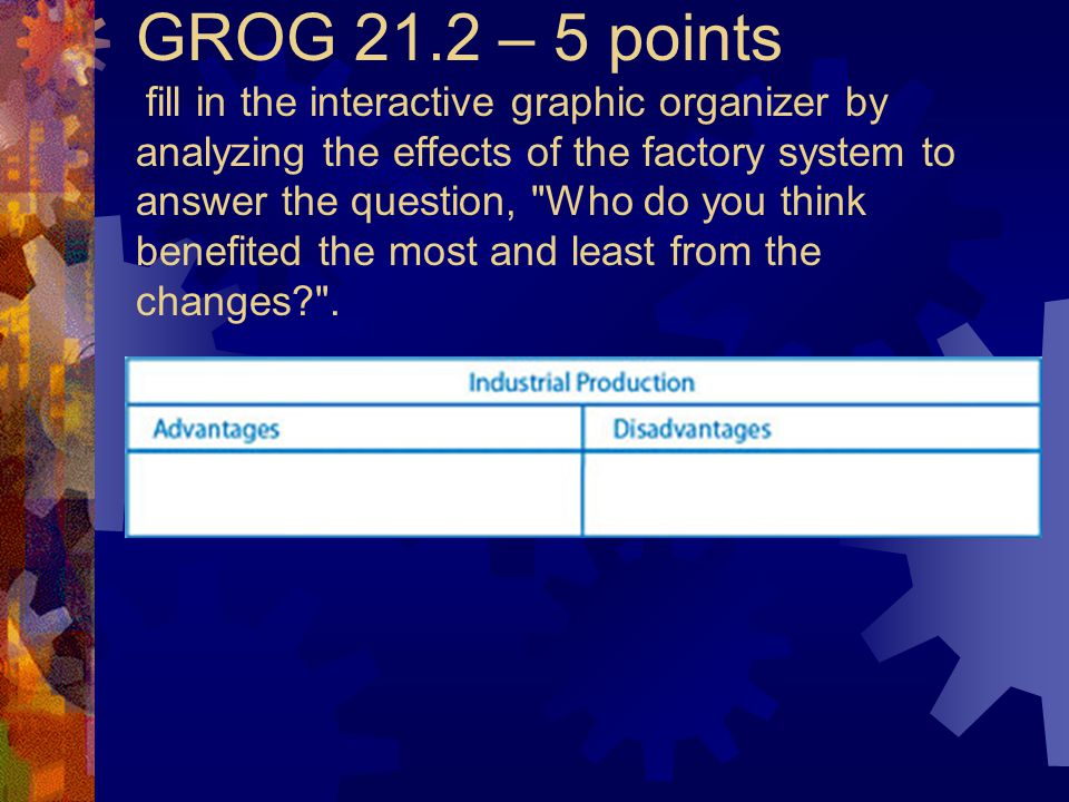GROG 21.2 – 5 points fill in the interactive graphic organizer by analyzing the effects of the factory system to answer the question, Who do you think benefited the most and least from the changes .