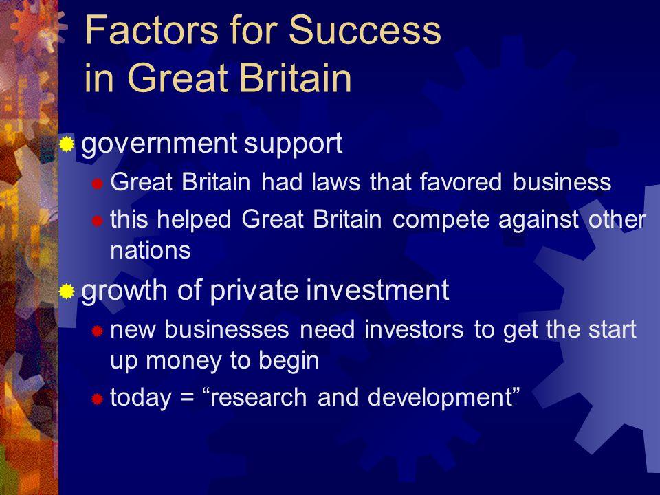 Factors for Success in Great Britain