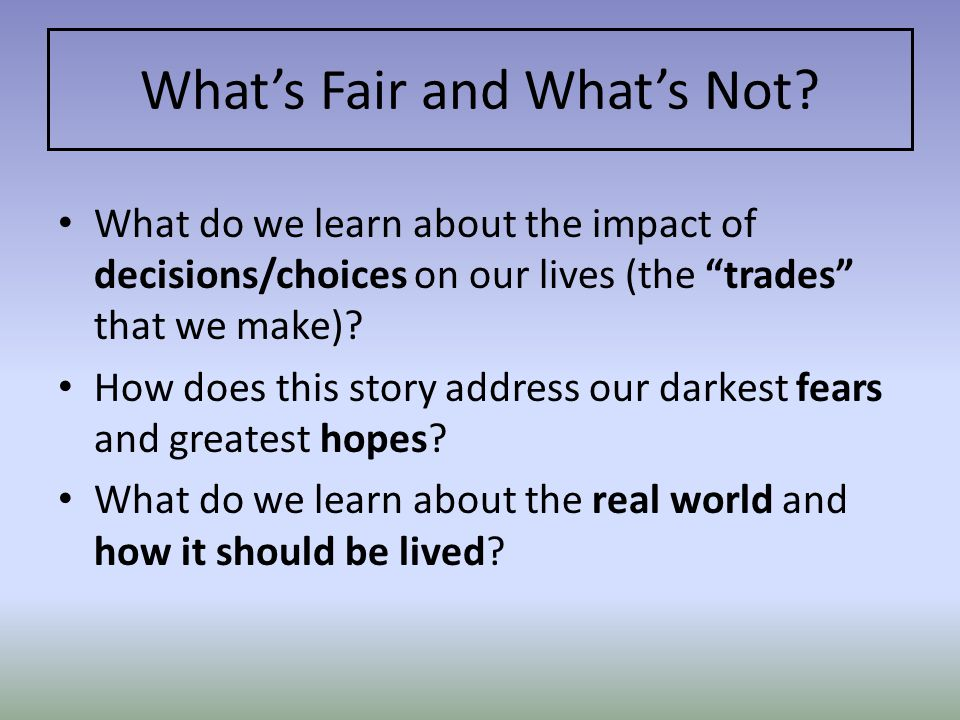 What's Fair and What's Not