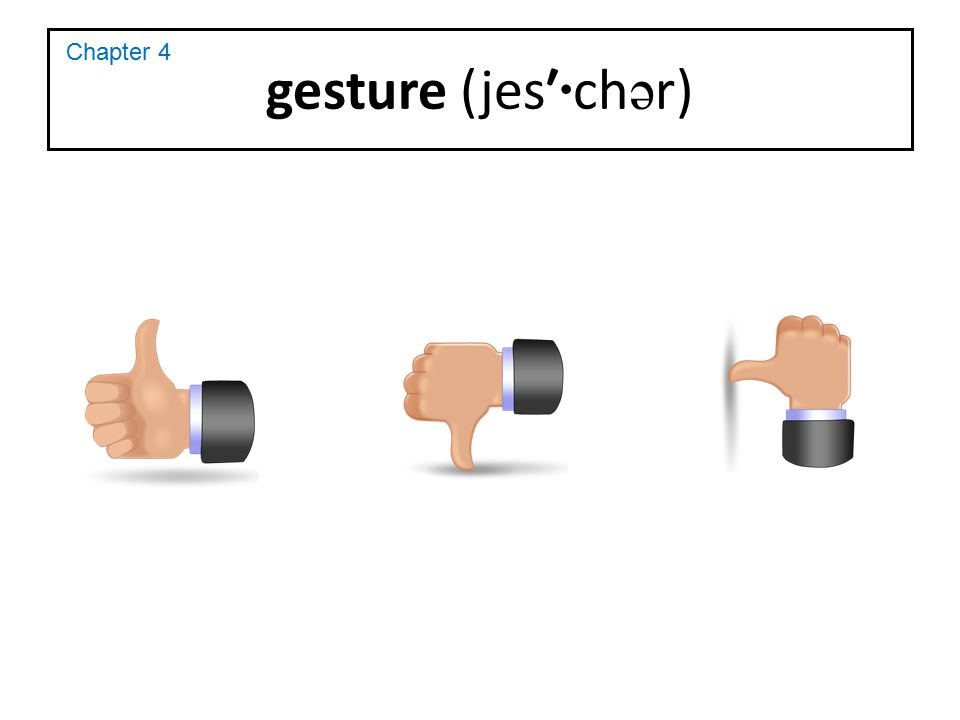 gesture (jes′·chər) Chapter 4