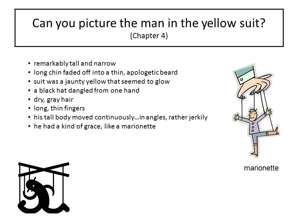 Can you picture the man in the yellow suit (Chapter 4)