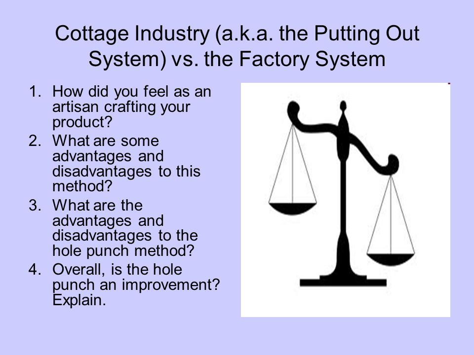 Cottage Industry (a. k. a. the Putting Out System) vs
