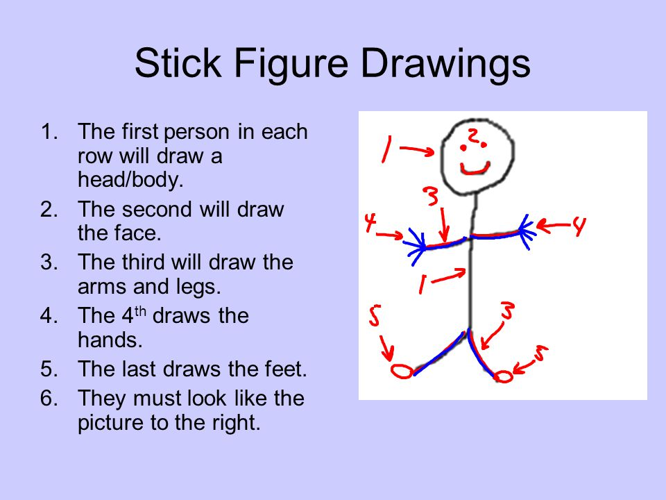 Stick Figure Drawings The first person in each row will draw a head/body. The second will draw the face.