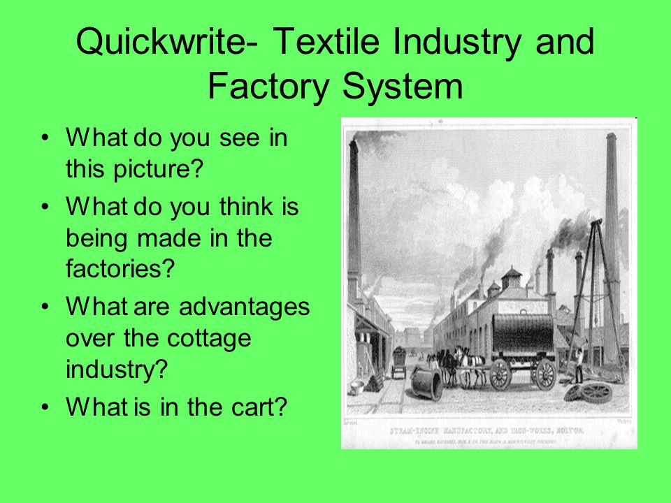 Quickwrite- Textile Industry and Factory System
