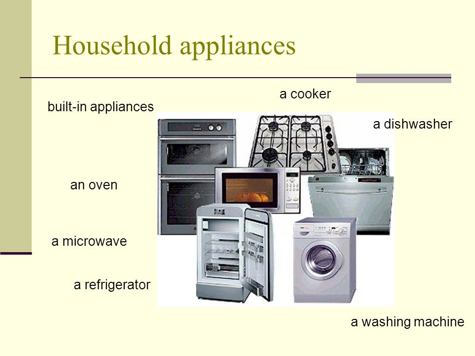 Household appliances a cooker built-in appliances a dishwasher an oven